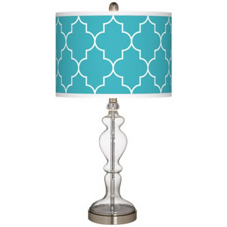 Tangier Blue Giclee Apothecary Clear Glass Table Lamp