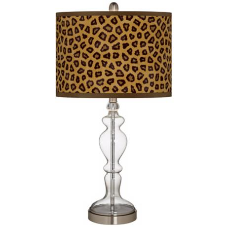 Safari Cheetah Giclee Apothecary Clear Glass Table Lamp