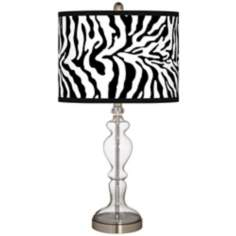 Safari Zebra Giclee Apothecary Clear Glass Table Lamp