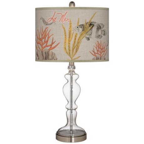 La Mer Coral Giclee Apothecary Clear Glass Table Lamp