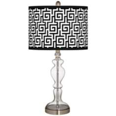 Greek Key Giclee Apothecary Clear Glass Table Lamp