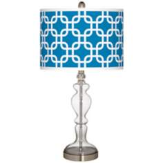 Blue Lattice Giclee Apothecary Clear Glass Table Lamp