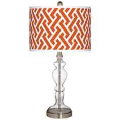 Red Brick Weave Giclee Apothecary Clear Glass Table Lamp