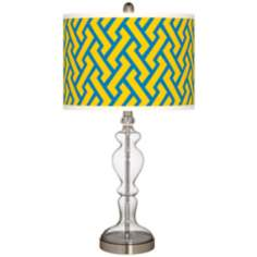 Yellow Brick Weave Apothecary Clear Glass Table Lamp