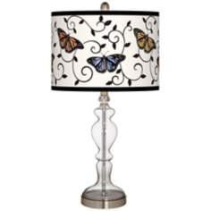 Butterfly Scroll Giclee Apothecary Clear Glass Table Lamp