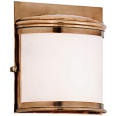 "Rotterdam 11 1/2"" High Aged Brass Outdoor Pocket Sconce"