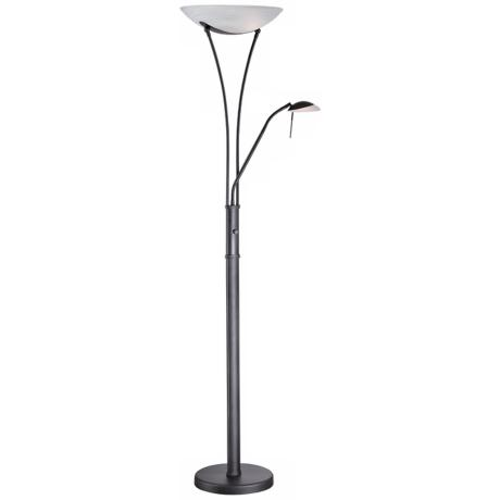 Lite Source Avington Black Reading Light Torchiere Lamp