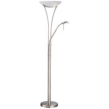 Lite Source Avington Steel Reading Light Torchiere Lamp