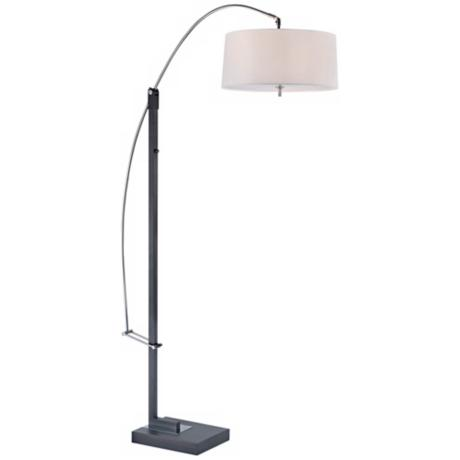 Lite Source Tall Karm Adjustable Black Arc Floor Lamp