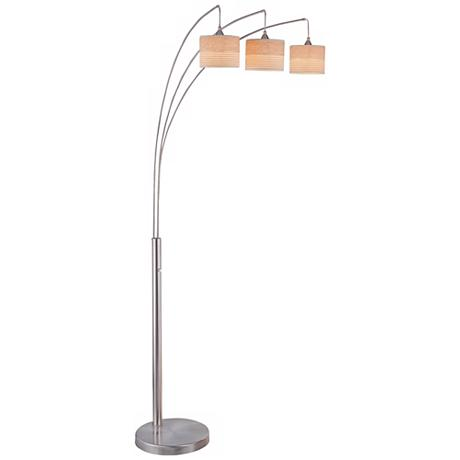 lite source relaxar 3 light polished steel arc floor lamp. Black Bedroom Furniture Sets. Home Design Ideas