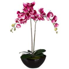"Double Purple 27 1/4"" High Faux Orchid in Black Ceramic Pot"