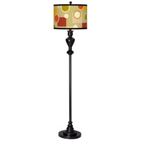 Retro Citrus Medley Giclee Glow Black Bronze Floor Lamp