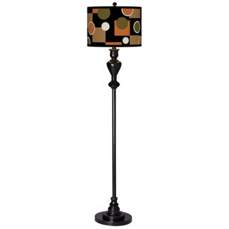 Retro Medley Giclee Glow Black Bronze Floor Lamp