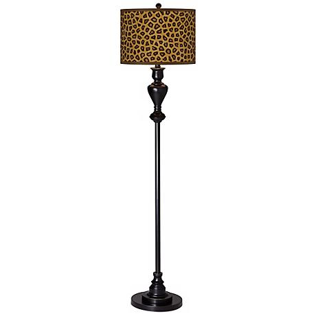 Safari Cheetah Giclee Glow Black Bronze Floor Lamp