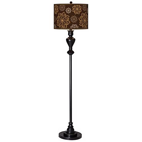 Chocolate Blossom Giclee Glow Black Bronze Floor Lamp
