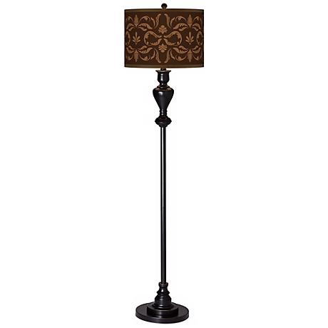 Mocha Flourish Giclee Glow Black Bronze Floor Lamp