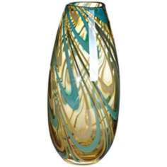 "Amber Swirl 12"" High Narrow Glass Vase"