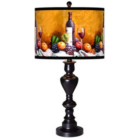 Wine and Fruit Giclee Glow Black Bronze Table Lamp