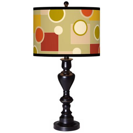 Retro Citrus Medley Giclee Glow Black Bronze Table Lamp
