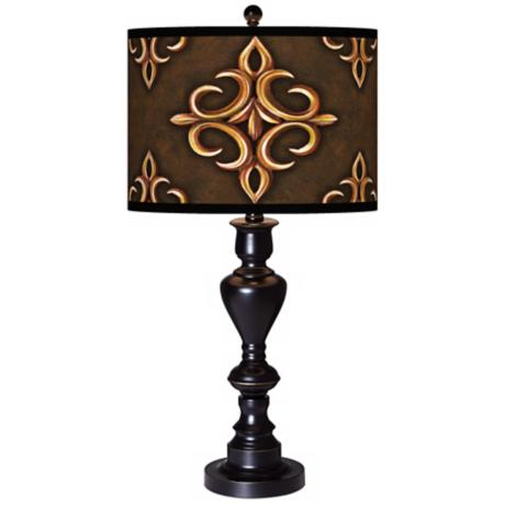Estate Mocha Giclee Glow Black Bronze Table Lamp