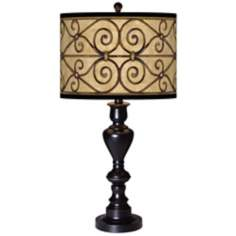 Trellis Hearts Giclee Glow Black Bronze Table Lamp