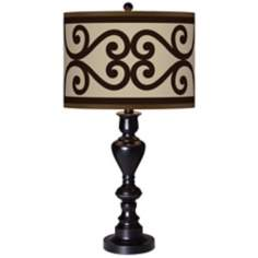 Cambria Scroll Giclee Glow Black Bronze Table Lamp