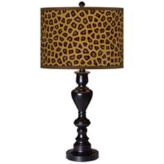 Safari Cheetah Giclee Glow Black Bronze Table Lamp