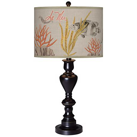 La Mer Coral Giclee Glow Black Bronze Table Lamp