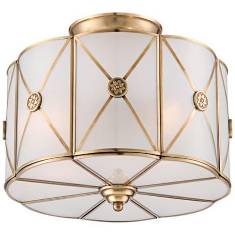 "Possini Mirna Frosted Glass 14"" Wide Brass Ceiling Light"