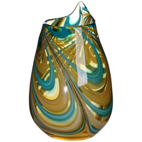 "Amber Swirl 10 1/4"" High Hand-Made Glass Vase"