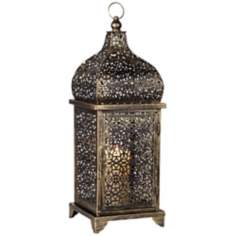 Antique Gold Glass Lantern Candle Holder