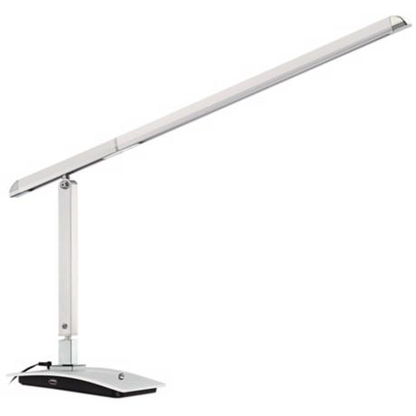 Shilo Silver LED Desk Lamp with USB Charging Port