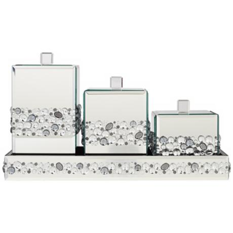 Jeweled Mirror Canisters 4-Piece Bathroom Accessory Set