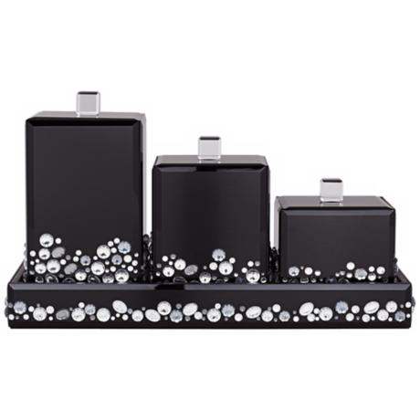 Jeweled Black Mirror Canister 4-Piece Bathroom Accessory Set