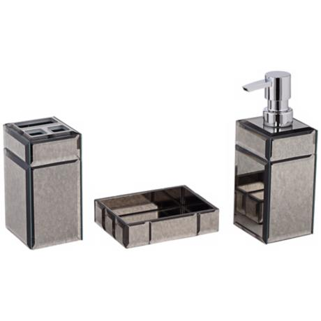 Mercury Glass 3-Piece Bathroom Accessory Set
