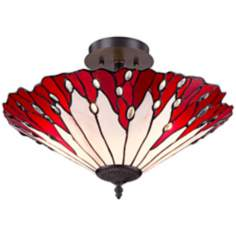 "Red Flower 18"" Wide Tiffany Style Glass Ceiling Light"