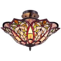 "Bronze Petals 18"" Wide Tiffany Style Glass Ceiling Light"