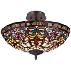 "Cherry Heart 18"" Wide Tiffany Style Glass Ceiling Light"