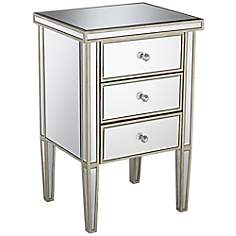 Olivia Antique Silver 3-Drawer Mirrored Accent Table