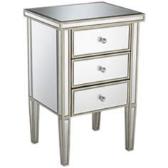 Antique Silver 3-Drawer Mirrored Nightstand