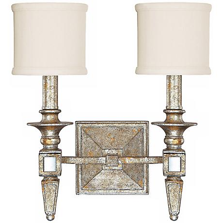 "Palazzo 13"" Wide Silver and Gold Leaf Wall Sconce"