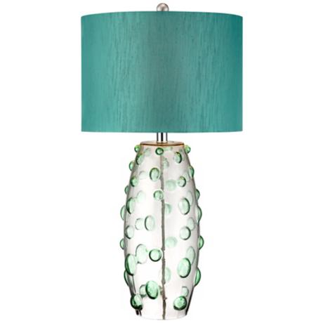 Possini Euro Faroe Teal Art Glass Table Lamp