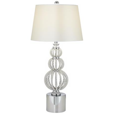 Beaded Stacked Spheres Crystal Table Lamp