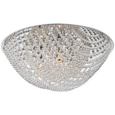 "Strung Crystal Flushmount 17"" Wide Ceiling Light"