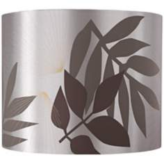 Taupe Satin Leaves Lamp Shade 13.5x13.5x11 (Spider)