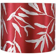 Red Drum with Silver Leaves Lamp Shade 12x12x10 (Spider)