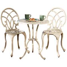 Antique White 3-Piece Outdoor Bistro Set