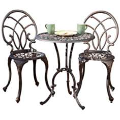 Aged Bronze 3-Piece Outdoor Bistro Set