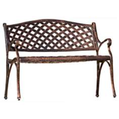 Antique Copper Lattice Back Outdoor Bench