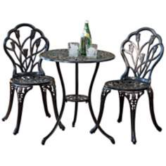 Aged Bronze 3-Piece Floral Outdoor Bistro Set